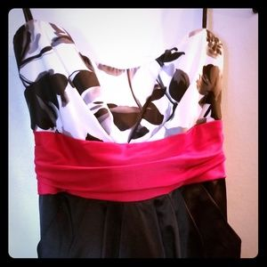 Mystic Satin Red Black and White Floral Dress